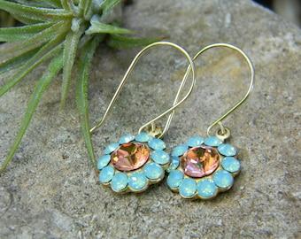 swarovski rhinestone flower earrings - green opal and peach - 14k gold filled earwires