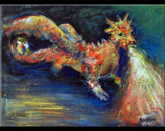 ABSTRACT Dragon Painting Modern Art  - ORIGINAL Modern Artwork 24x18 BenWill