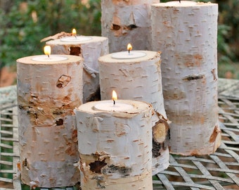 Birch Candle Holder - Birch Candle - Candle Holder - Rustic Candle Holder - Wood Candle Holder - Rustic Wedding - Birch Candle Holders
