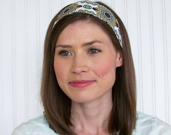 Adjustable Damask Fabric Headband Womens Headband White, Turquoise, Green and Brown Wide headband