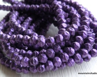 3mm English Cut Beads - Metallic Suede Purple - Czech Glass Beads - 50 pcs (SP - 1)