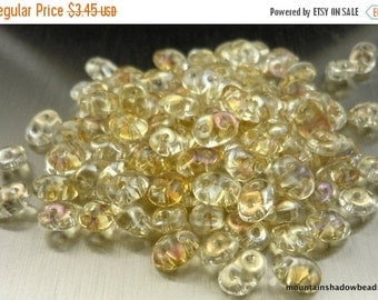 "Fall Clearance SuperDuo Czech Glass Beads - 2.5x5mm 2 Hole Beads - 2.5"" Tube - Twilight Crystal (F3 - 3)"