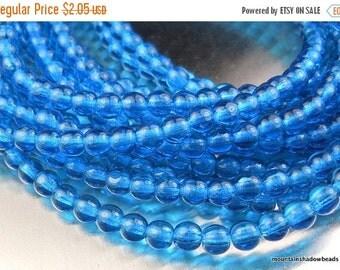 25% OFF Sale Czech 4mm Round Beads  - Capri Blue - 100 pcs (G - 387)