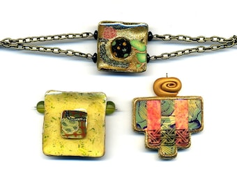 Clearance SALE - 2 unmounted pendants and 1 bracelet of polymer clay