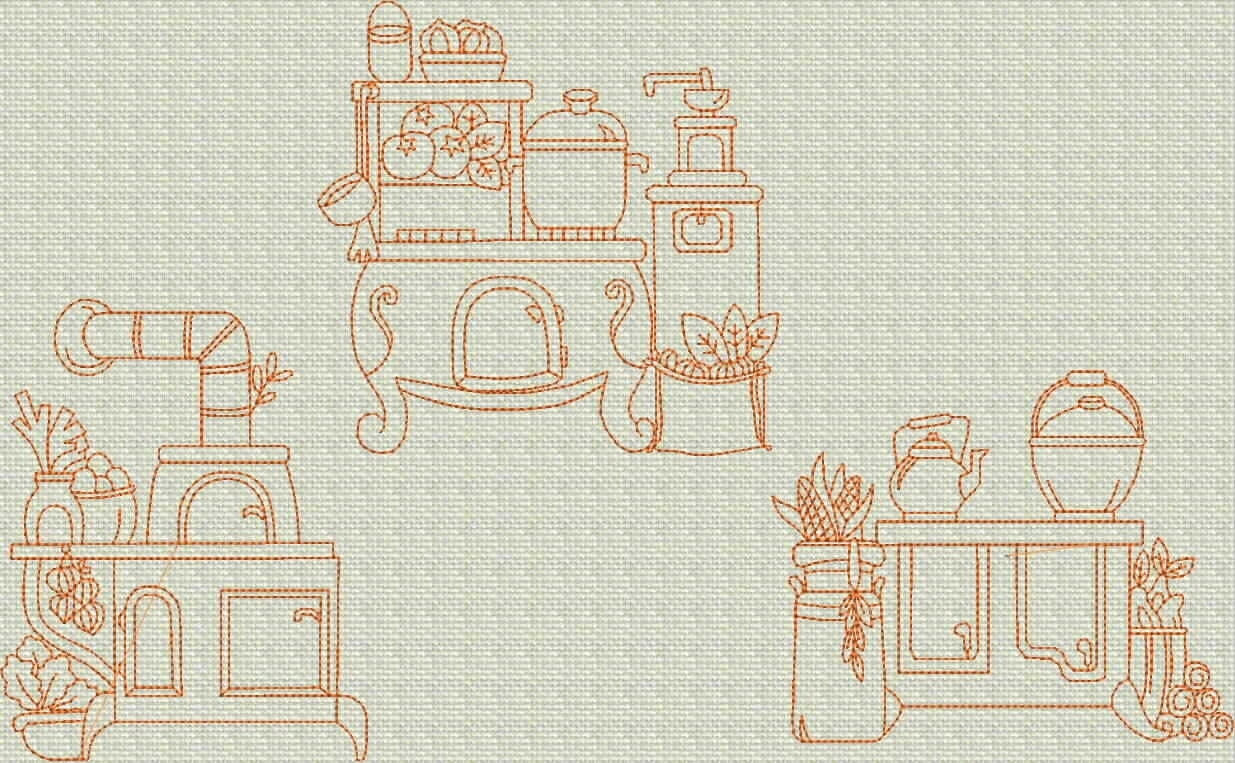 Instant Download Vintage Kitchen Stoves Redwork By Embroiderygirl