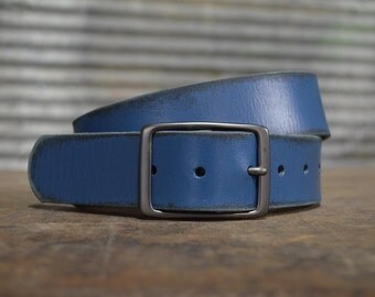Distressed PETROL Leather Belt by FosterWeld