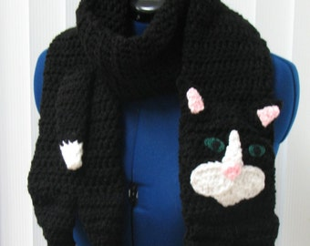 Crochet Black Cat Scarf with White Accents Made To Order