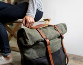 SALE Weekender Bag, Waxed Canvas, Travel Bag, Backpack, or Overnight Bag in Black Leather & Olive Canvas; THE OLIVE Hotshot by Awl Snap