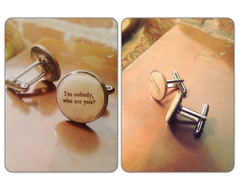 Quote Im Nobody Who Are You Dime Cufflinks - coin cufflinks set - Dime Coin Cufflinks - gift under 30 - Jane Austen - Gift for Him