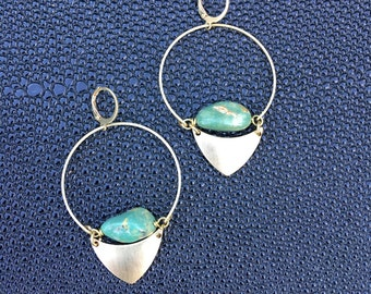 Sonora Turquoise Brass Triangle Hoop Gemstone Earrings - Statement Earrings - drop Earrings  - Boho Earrings - Southwestern