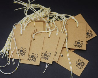 Bumble Bee, tags, chipboard tags, hand stamped hang tags, set of 20, wedding favors, party favor, Kraft chipboard, scrapbook embellishment