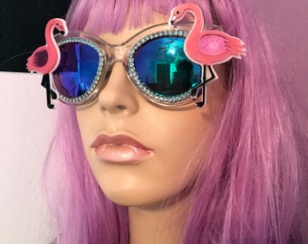Clear and Blue Mirrored Rhinestone Acrylic Flamingo's Sunglasses