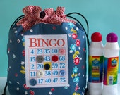Bingo Bag - Drawstring Bag - Knitting Project Bag - Reusable Lunch Bag - Bingo Gift - Bingo Dauber Bag - Organizer - Makeup Bag