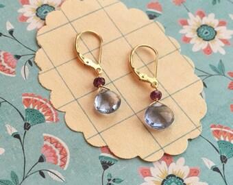 karel earrings - ocean topaz gemstone 14k gold filled