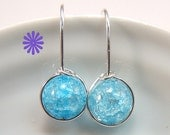 Ice Blue Crackle Quartz Round drop earrings Sterling Silver