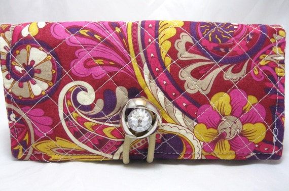 Checkbook Cover Holder QUILTED Purple Carnival by JimmyPickles