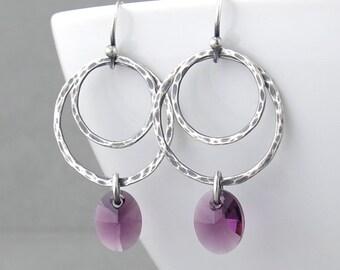 Purple Earrings Silver Hoop Earrings Purple Crystal Earrings Silver Jewelry Silver Circle Earrings Crystal Jewelry Gift for Her - Ashley