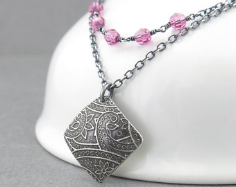 Pink Crystal Layering Necklace Crystal Jewelry Modern Jewelry Sterling Silver Layering Necklace Silver Pendant Necklace - Layering