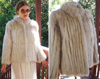 SILVER Fox 1970's 80's Vintage Light Grey Fox Fur Coat with Grey Velvet // by SAGA Fox // size Small Medium
