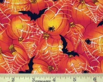 Fat Quarter Halloween Fabric Black Bats, Pumpkins, Spiders and White Spider Webs Allover on Orange - No Designer Label - OOP