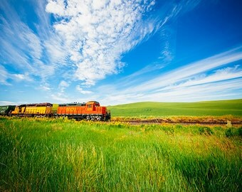Train Photography, Palouse Photo, Eastern Washington, Rural Landscape Photography, Agriculture, Railroad, BGCM, Green, Transportation