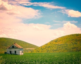Optimistic Summer Landscape Photography - Rural Utah - Green Hills and Blue and Pink Skies - Americana - Countryside - Old Homestead