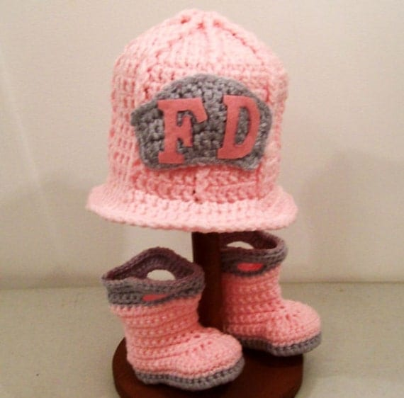 Baby Girls Crochet Fireman Boots and Hat Pink and by togs4tots