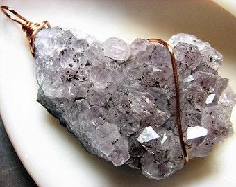 Moss Amethyst Quartz Crystal Druzy, Raw Stone, Copper Wire Wrapped