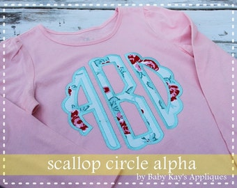 "Scallop Circle Applique Monogram Alphabet 4"", 5"", 6"", & 7"""
