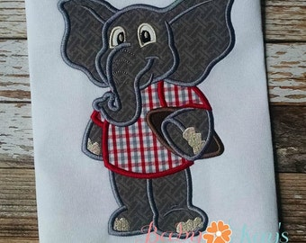 Elephant Football Play Applique Design 4x4, 5x7, 6x10