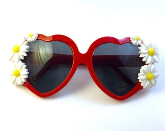 Daisy Chain Cherry Red Heart Shaped Sunglasses - Flower Girl Kawaii Love Glasses - Fun Festival & Rave Wear, Summer Fashion For Her
