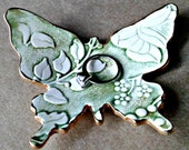 Ceramic Pale Moss Green damask Butterfly Ring Dish edged in gold bridesmaid gift