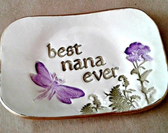 Best NANA Ceramic Trinket  Dish edged in gold  Mothers day
