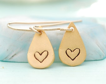 Love Romance ILLUSTRATED HEART hooks, tiny LOVE earrings, eco-friendly sterling silver or gold vermeil. Handcrafted by Chocolate and Steel