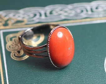 Red Jasper Ring Gunmetal Antiqued Silver Red Gemstone Cabochon Ring