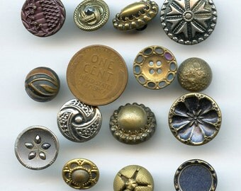Lot of Victorian Metal Buttons Wholesale Bakers Dozen (13) Small Antique MORE AVAILABLE 2001