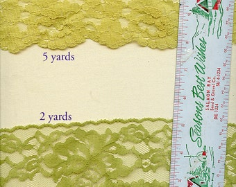 Vintage GREEN ROSES Lace 7 Yards Two Shades Sage Yellow Green Pear 2132