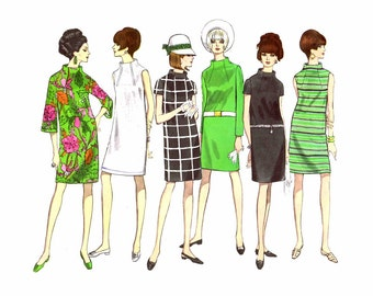 1960s Mod Dress Vogue 1871 Vintage Sewing Pattern Size 12 Bust 34