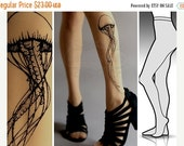 SALE25%off/// s/m Jellyfish tattoo tights / stockings / full length / pantyhose / nylons cafe latte