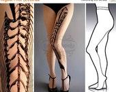 SALE25%off/// S/M Fish Bone tattoo tights / stockings / full length / pantyhose / nylons White