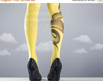 15%SALE/endsAUG30/ Yellow Snake Closed Toe one size full length printed tights pantyhose tattoo socks tattoo tights