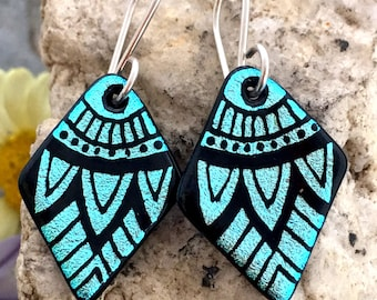 SMALL Mandala Hand Etched Dichroic Earrings Fused Glass & Sterling Silver Handmade Wires Turquoise