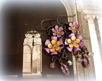 petal to the metal vintage assemblage earrings shades of lilac and marigold enamel flowers
