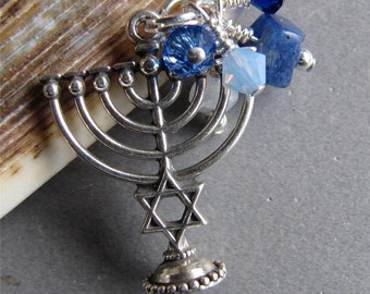 Crystal Sterling Hanukkah Chanukah Menorah Charm