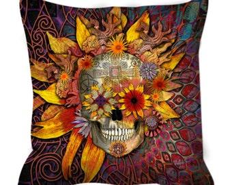 Sugar Skull Throw Pillow - Botanical Skull Art Pillow - Dia De Los Muertos Home Decor - Origins Botaniskull