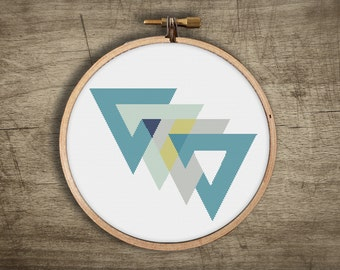 modern geometric cross stitch pattern ++ retro triangle mosaic ++ 3 variations ++ pdf INsTAnT DOwNLoAD ++ diy hipster ++ handmade design