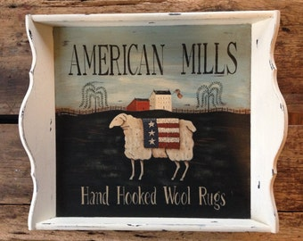 American Mills Hand Hooked Wool Rugs Sheep Tray, Hand Painted by Donna Atkins. Primitive New England Americana Folk Art, Rustic, Distressed.