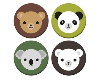 Kawaii Bears Badge Set - Koala, Panda, Polar Bear and Brown Bear