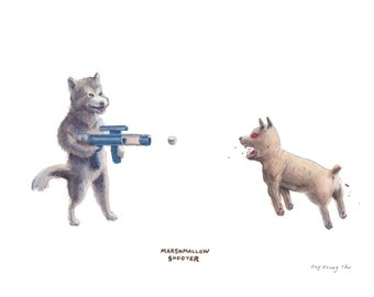 MARSHMALLOW SHOOTER art print - Ray Young Chu stop the violence dogs matter shooting others w/ marshmello nerf toy play gun animals modern