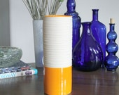 Groove Cylinder Vase in Orange